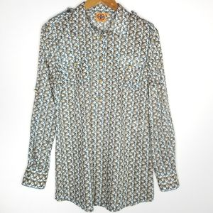 Tory Burch Button Up Blouse Elephant Print 10
